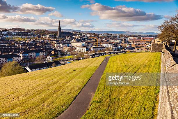 derry panorama from city walls - northern ireland stock photos and pictures