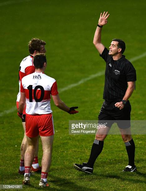 Derry , United Kingdom - 1 November 2020; Derry players remonstrate with a decision given by referee Sean Hurson during the Ulster GAA Football...