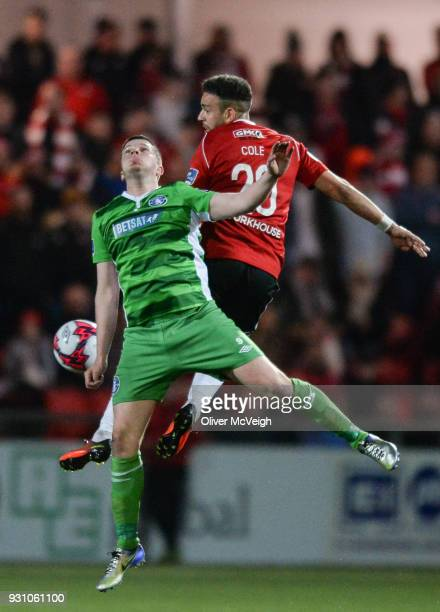 Derry United Kingdom 12 March 2018 Darren Cole of Derry City in action against Danny Morrissey of Limerick during the SSE Airtricity League Premier...