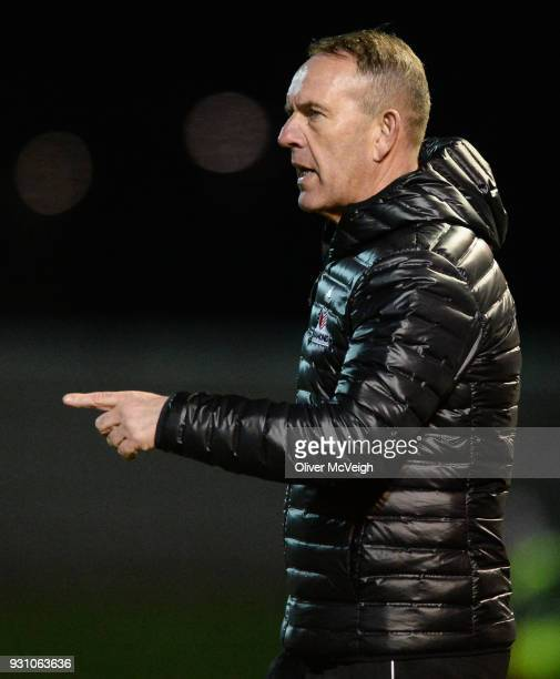 Derry United Kingdom 12 March 2018 Derry City manager Kenny Shiels during the SSE Airtricity League Premier Division match between Derry City and...