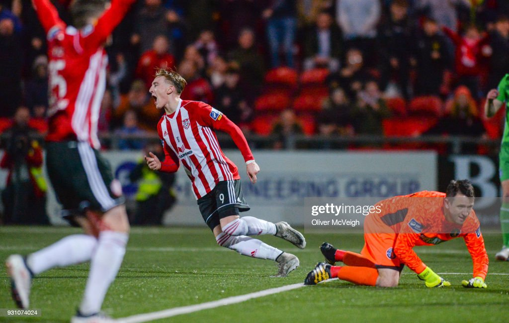 Derry , United Kingdom - 12 March 2018; Ronan Curtis of Derry City celebrates after scoring his side's third goal during the SSE Airtricity League Premier Division match between Derry City and Limerick at the Brandywell Stadium in Derry.