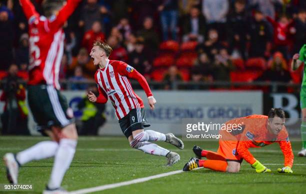 Derry United Kingdom 12 March 2018 Ronan Curtis of Derry City celebrates after scoring his side's third goal during the SSE Airtricity League Premier...