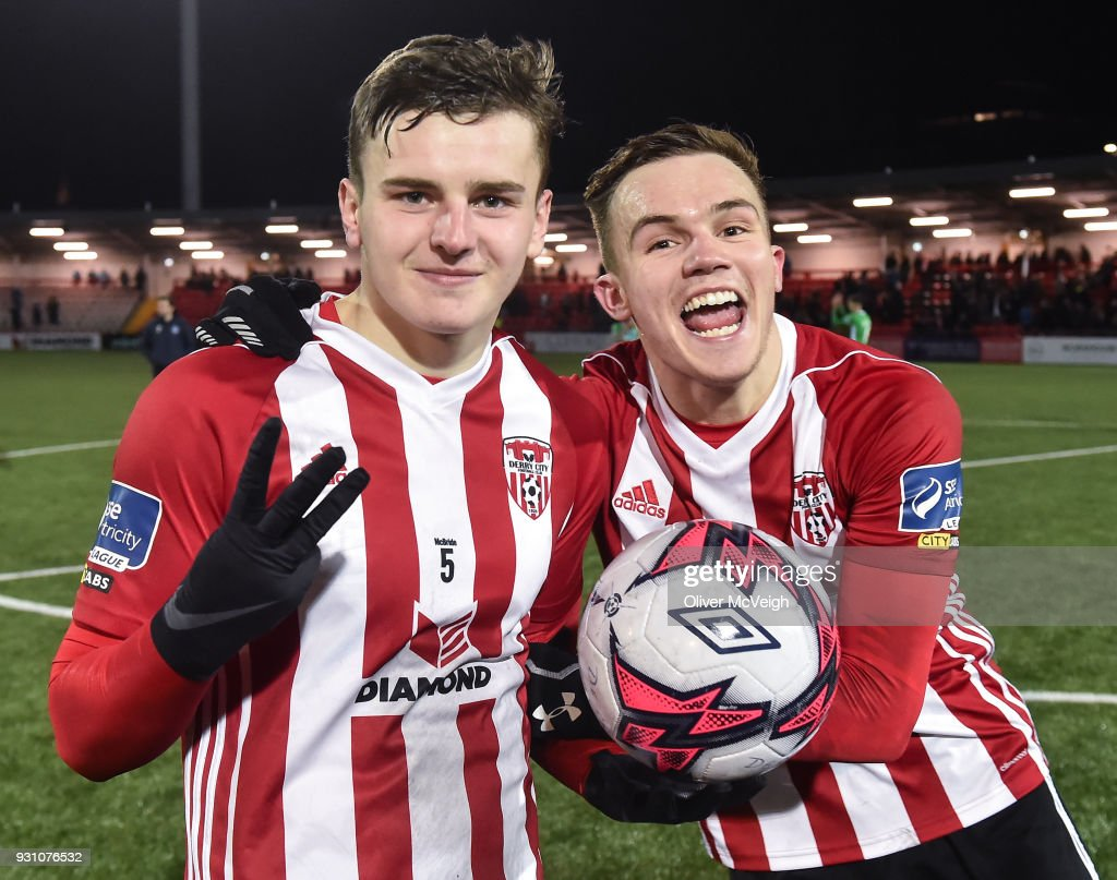 Derry , United Kingdom - 12 March 2018; Ronan Hale, left, and Rory Hale of Derry City celebrate after the SSE Airtricity League Premier Division match between Derry City and Limerick at the Brandywell Stadium in Derry.
