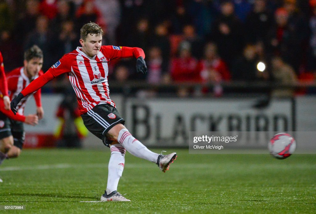 Derry , United Kingdom - 12 March 2018; Ronan Hale of Derry City scores his side's fifth goal during the SSE Airtricity League Premier Division match between Derry City and Limerick at the Brandywell Stadium in Derry.