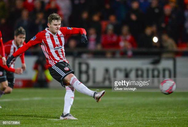 Derry United Kingdom 12 March 2018 Ronan Hale of Derry City scores his side's fifth goal during the SSE Airtricity League Premier Division match...