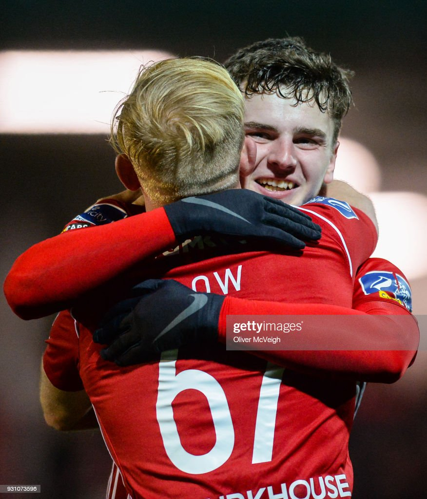 Derry , United Kingdom - 12 March 2018; Ronan Hale of Derry City celebrates with team-mate Nicky Low after scoring his side's fourth goal during the SSE Airtricity League Premier Division match between Derry City and Limerick at the Brandywell Stadium in Derry.