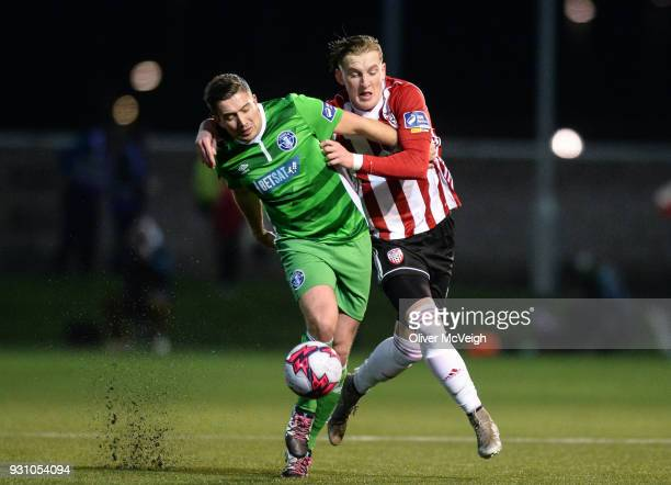 Derry United Kingdom 12 March 2018 Shaun Kelly of Limerick in action against Ronan Curtis of Derry City during the SSE Airtricity League Premier...