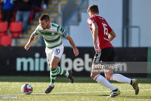 Derry United Kingdom 22 September 2018 Ronan Finn of Shamrock Rovers celebrates after the SSE Airtricity League Premier Division match between Derry...