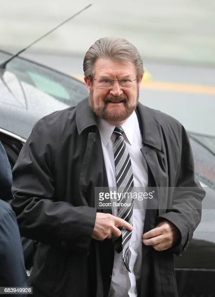 Derryn Hinch arrives during the Lou Richards State Funeral Service at St Paul's Cathedral on May 17 2017 in Melbourne Australia