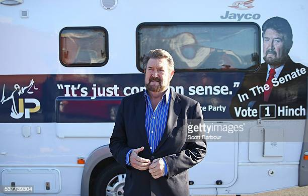 Derryn Hinch of Derryn Hinch's Justice Party steps out of his campaign Winnebago as he arrives in Pakenham on June 3 2016 in Melbourne Australia The...