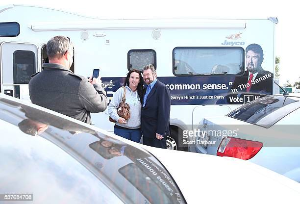 Derryn Hinch of Derryn Hinch's Justice Party takes a selfie with a supporter as he stops in Pakenham on June 3 2016 in Melbourne Australia The...