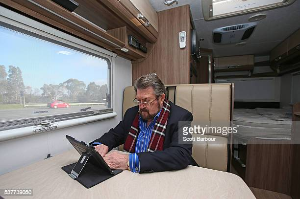 Derryn Hinch of Derryn Hinch's Justice Party works in his campaign Winnebago as he arrives in Pakenham on June 3 2016 in Melbourne Australia The...