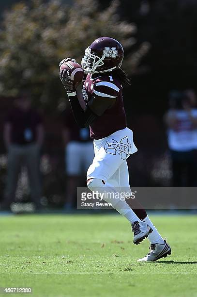 De'Runnya Wilson of the Mississippi State Bulldogs catches a pass during the first quarter of a game against the Texas AM Aggies at Davis Wade...