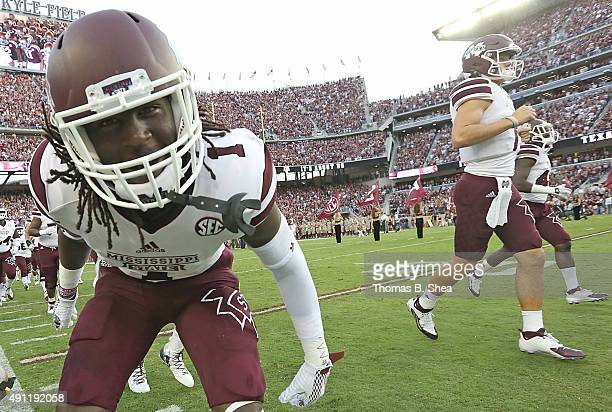 De'Runnya Wilson of the Mississippi State Bulldogs enters the field before playing the Texas AM Aggies on October 3 2015 at Kyle Field in College...