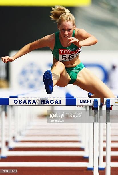 Derval O'Rourke of Ireland competes during the Women's 100m Hurdles heats on day three of the 11th IAAF World Athletics Championships on August 27...