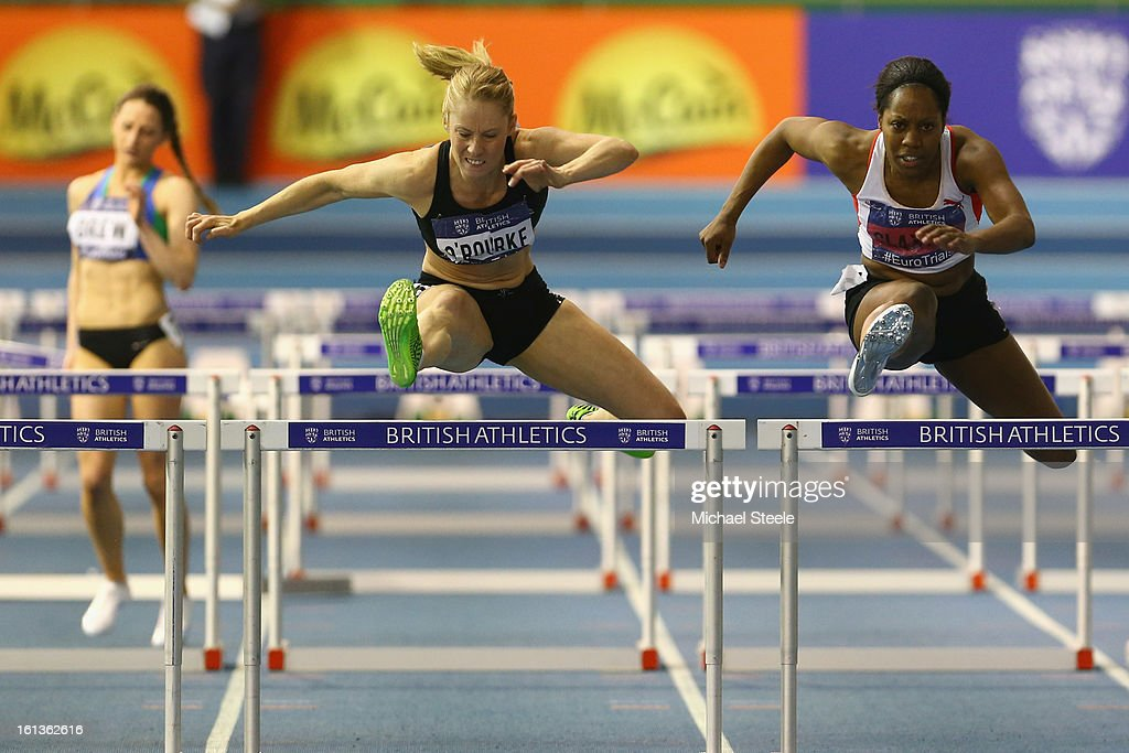 Derval O'Rourke (L) of Ireland on her way to victory from Sarah Claxton (R) in the women's 60m hurdles final during day two of the British Athletics European Trials & UK Championship at the English Institute of Sport on February 10, 2013 in Sheffield, England.