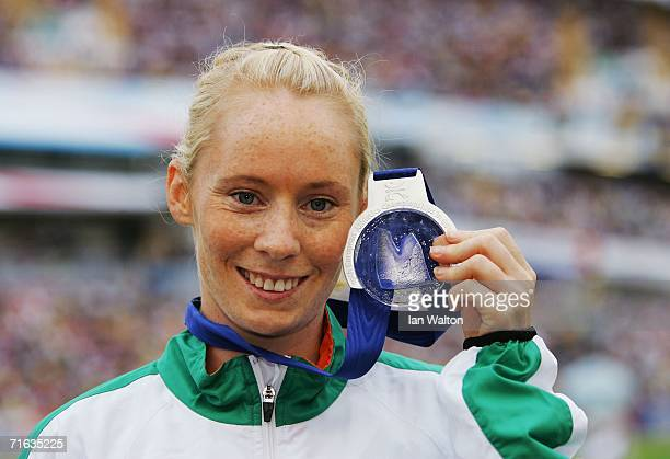 Derval O'Rourke of the Republic of Ireland poses with her silver medal during the medal presentation for the Women's 100 Metres Hurdles on day six of...