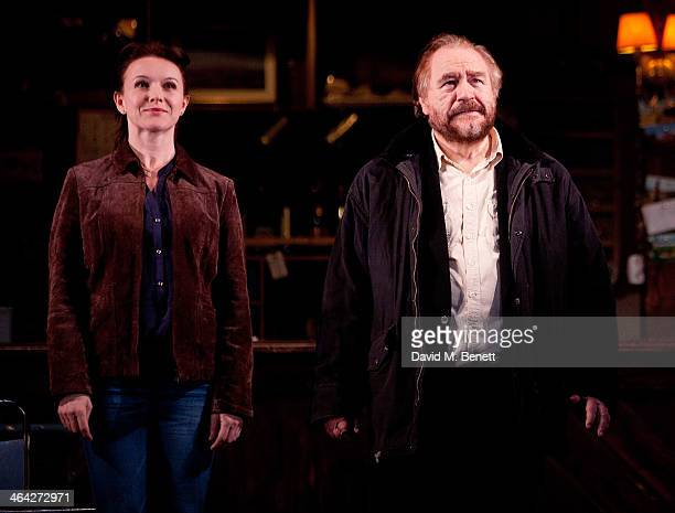"Dervla Kirwan and Brian Cox bow at the curtain call during the press night performance of ""The Weir"" at Wyndhams Theatre on January 21, 2014 in..."