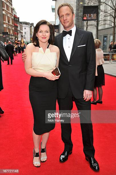 Dervla Kirwan and Rupert PenryJones attends The Laurence Olivier Awards at The Royal Opera House on April 28 2013 in London England