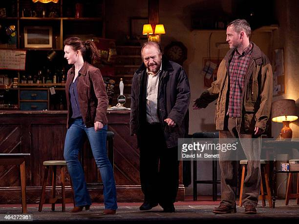 "Dervla Kirwan, Brian Cox and Peter McDonald bow at the curtain call during the press night performance of ""The Weir"" at Wyndhams Theatre on January..."