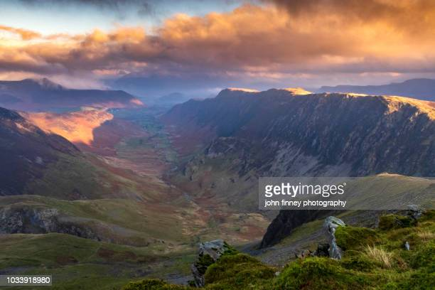 derwent fells and newlands valley from dale head, lake district, cumbria, england - whitehaven cumbria stock pictures, royalty-free photos & images