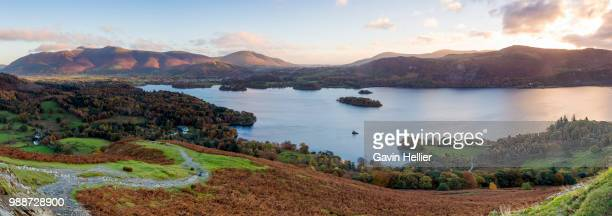 derwent water and skiddaw mountains beyond, lake district national park, unesco world heritage site, cumbria, england, united kingdom, europe - gavin hellier stock pictures, royalty-free photos & images
