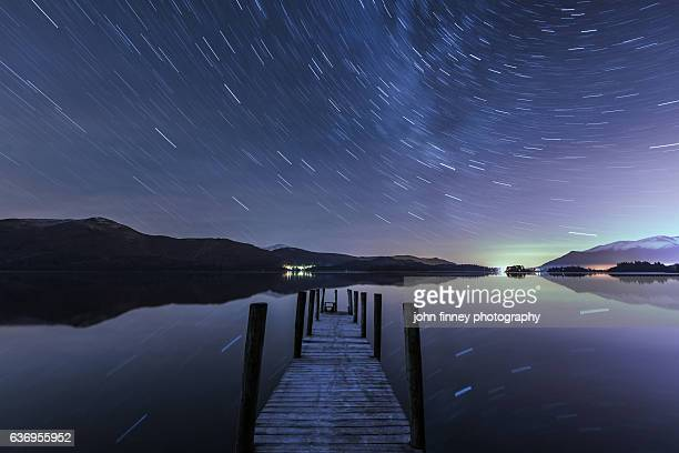 Derwent Water Aurora Star Trails, English Lake District. UK
