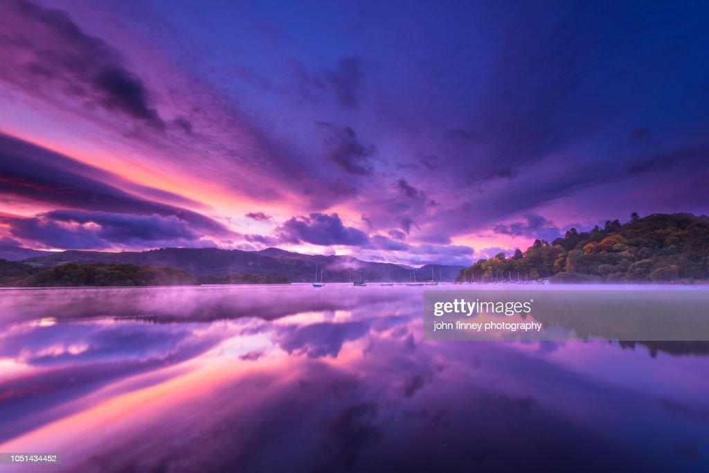 Derwent Water Autumn sunrise, Lake District. UK. : Stock Photo