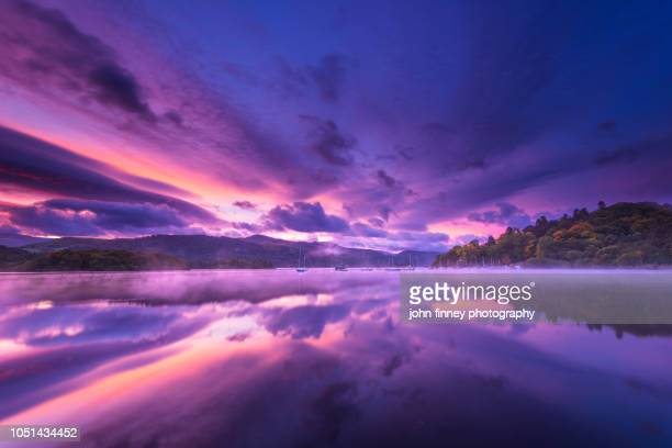 derwent water autumn sunrise, lake district. uk. - keswick stock photos and pictures