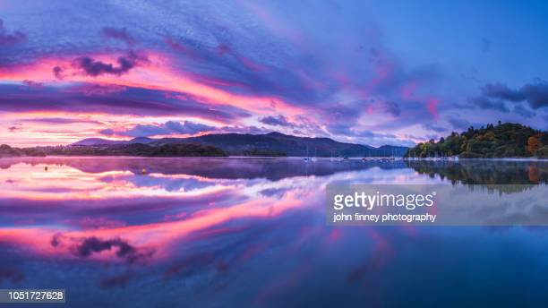 derwent water autumn sunrise, lake district. uk. - whitehaven cumbria stock pictures, royalty-free photos & images