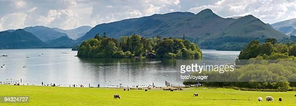 derwent water, cat bells, lake district, reino unido - derwent water - fotografias e filmes do acervo