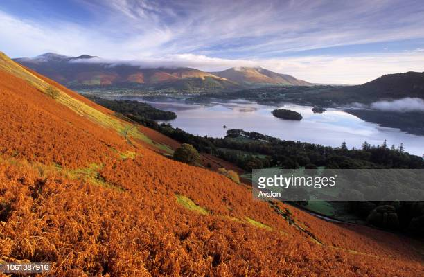 Derwent Water from Catbells ridge Lake District National Park Cumbria England