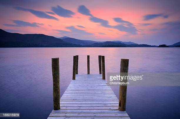 derwent water sunset, lake district national park - keswick stock photos and pictures