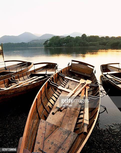 Derwentwater at dusk, Keswick, Lake District, Cumbria, England, United Kingdom, Europe