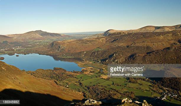 derwentwater from raven crag high spy - blencathra stock photos and pictures