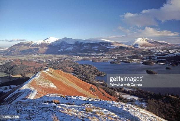 derwentwater snow scene - blencathra stock photos and pictures