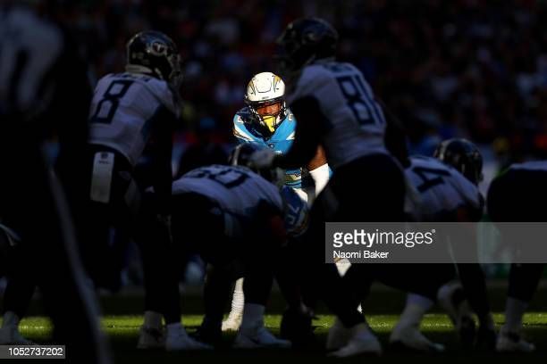Derwin James of Los Angeles Chargers looks on during the NFL International Series match between Tennessee Titans and Los Angeles Chargers at Wembley...