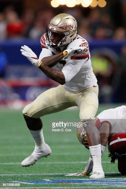 Derwin James of the Florida State Seminoles reacts after a play against the Alabama Crimson Tide in their game at MercedesBenz Stadium on September 2...