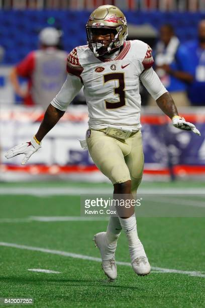 Derwin James of the Florida State Seminoles reacts after a play against the Alabama Crimson Tide during their game at MercedesBenz Stadium on...