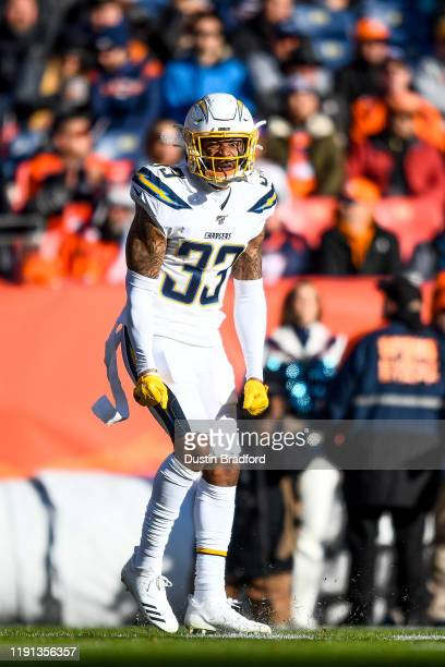 Derwin James of the Los Angeles Chargers celebrates after a defensive stop against the Denver Broncos int he first quarter of a game at Empower Field...