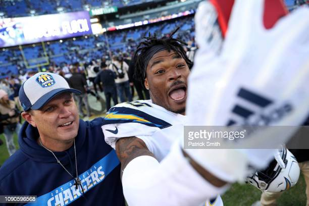 Derwin James of the Los Angeles Chargers celebrates after defeating the Baltimore Ravens after the AFC Wild Card Playoff game at MT Bank Stadium on...
