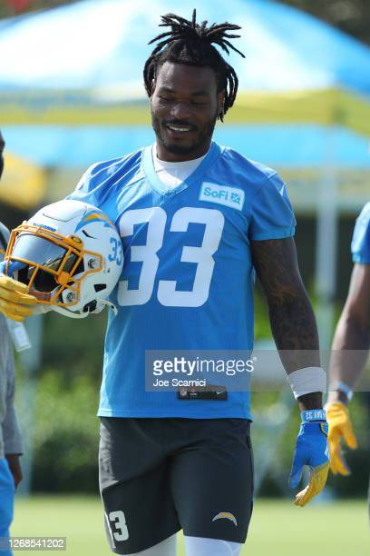 Derwin James of the Los Angeles Chargers looks on during Los Angeles Chargers Training Camp at the Jack Hammett Sports Complex on August 25, 2020 in...