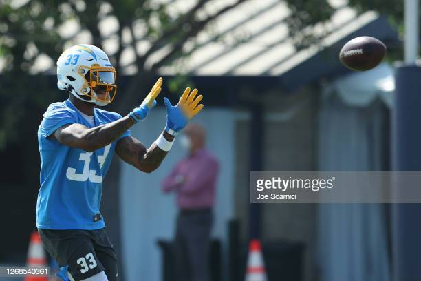 Derwin James of the Los Angeles Chargers makes a catch during Los Angeles Chargers Training Camp at the Jack Hammett Sports Complex on August 25,...
