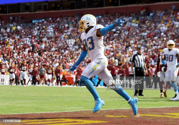 Derwin James of the Los Angeles Chargers reacts after a fumble by Antonio Gibson of the Washington Football Team during the fourth quarter at...