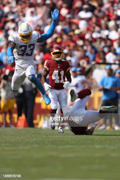 Derwin James of the Los Angeles Chargers reacts against the Washington Football Team during the first half at FedExField on September 12, 2021 in...