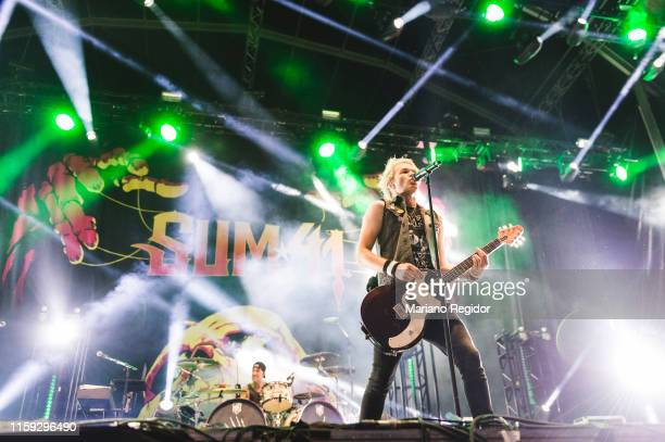 Deryck Whibley aka Bizzy D of Sum 41 performs on stage during day 3 of Download festival 2019 at La Caja Magica on June 30 2019 in Madrid Spain