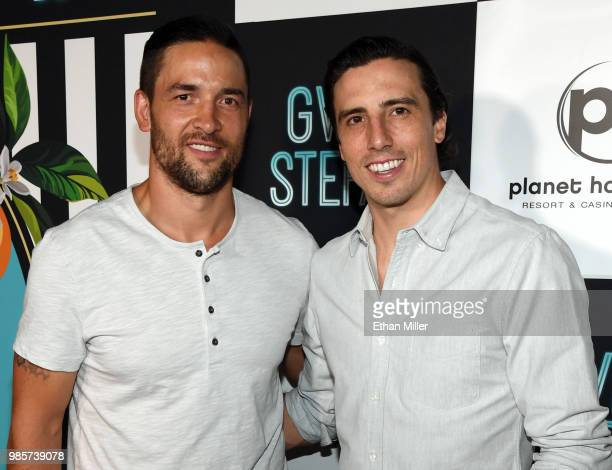 "Deryk Engelland and Marc-Andre Fleury of the Vegas Golden Knights attend the grand opening of the ""Gwen Stefani - Just a Girl"" residency at Planet..."