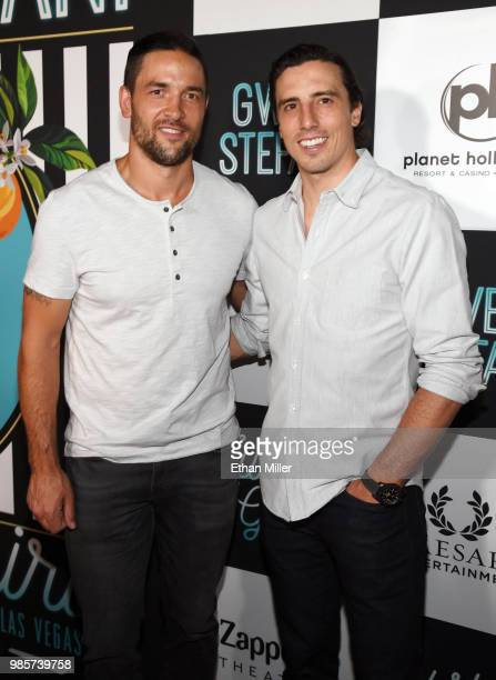 Deryk Engelland and MarcAndre Fleury of the Vegas Golden Knights attend the grand opening of the Gwen Stefani Just a Girl residency at Planet...
