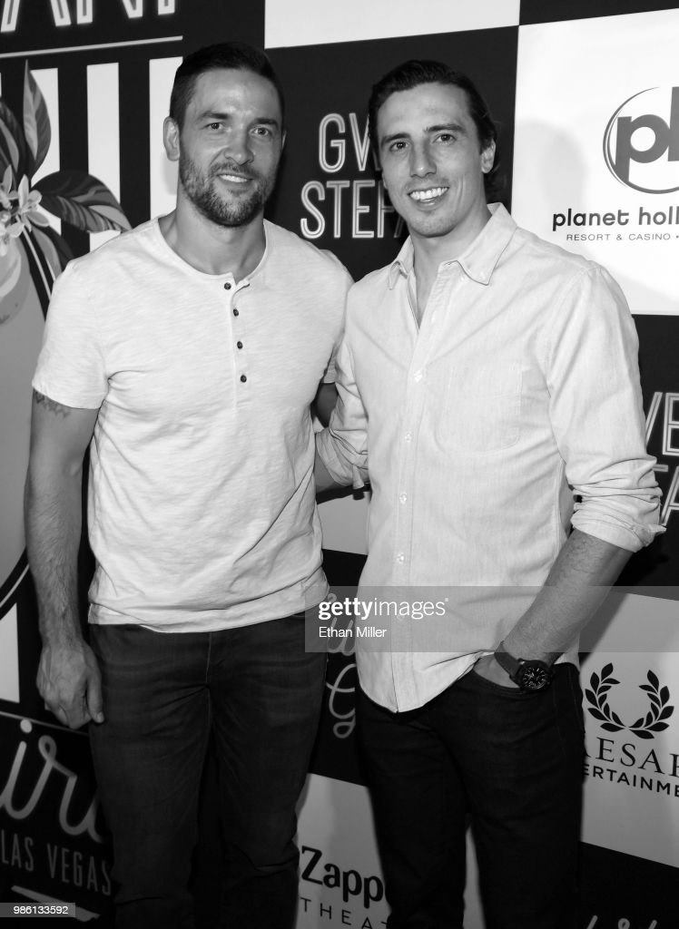 Deryk Engelland (L) and Marc-Andre Fleury of the Vegas Golden Knights attend the grand opening of the 'Gwen Stefani - Just a Girl' residency at Planet Hollywood Resort & Casino on June 27, 2018 in Las Vegas, Nevada.