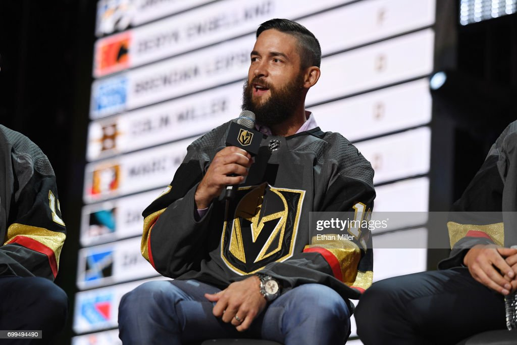 Deryk Engelland is interviewed after being selected by the Las Vegas Golden Knights during the 2017 NHL Awards and Expansion Draft at T-Mobile Arena on June 21, 2017 in Las Vegas, Nevada.